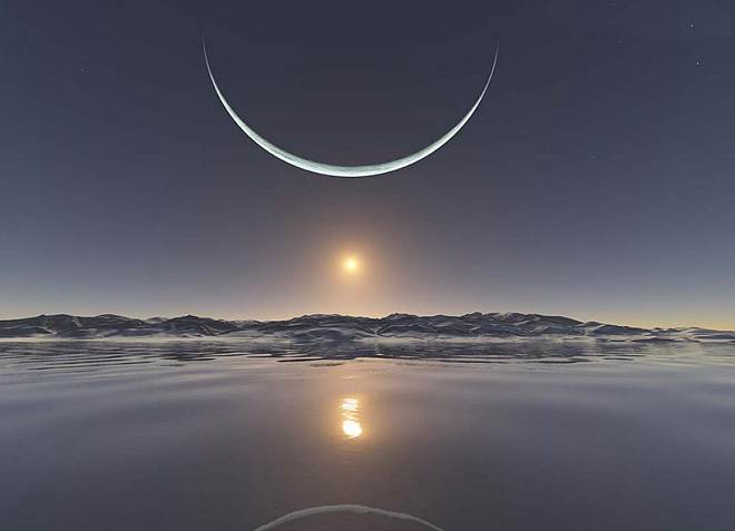 Φεγγάρι και ηλιοβασίλεμα στον Βόρειο Πόλο